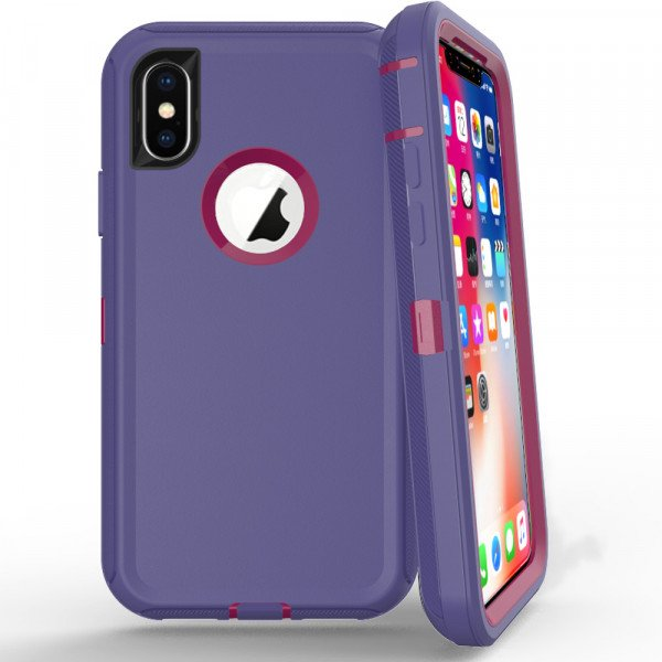 Wholesale iPhone Xs Max Armor Defender Case (Purple Hot Pink)