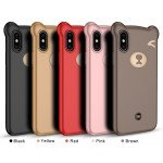 Wholesale iPhone 8 Plus / 7 Plus 3D Teddy Bear Design Case with Hand Strap (Red)