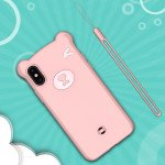 Wholesale iPhone Xs Max 3D Teddy Bear Design Case with Hand Strap (Pink)