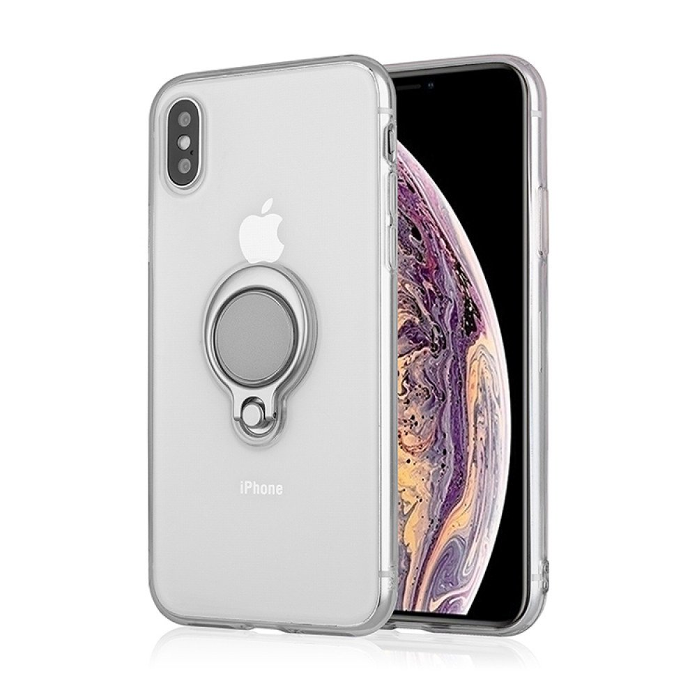 new product 1cb2b ca2a7 Wholesale iPhone Xs Max Ring Stand Transparent Case with Metal Plate ...