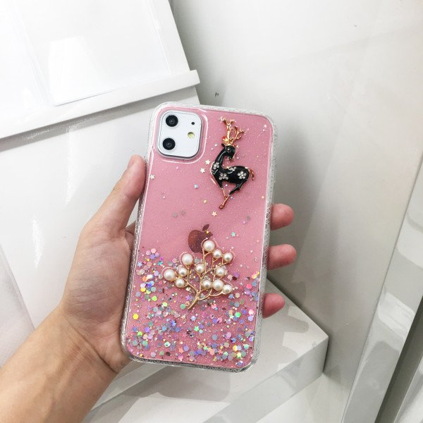 Wholesale iPhone 11 (6.1in) 3D Deer Crystal Diamond Shiny Case (Pink)