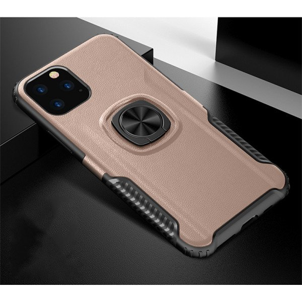 Wholesale iPhone 11 Pro Max (6.5in) Ring Stand PU Leather Design Case (Rose Gold)
