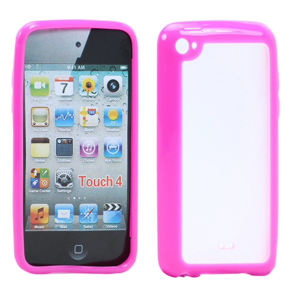 Hybrid Soft Pink Silicone Gel Cover with Hard Black Mesh Case For iPod Touch 4