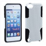 Wholesale iPod Touch 5 Mesh Hybrid Case (White-Black)
