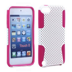 iPod Touch 5 Mesh Hybrid Case (White-Pink)