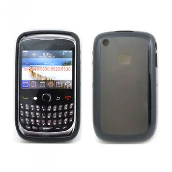 Wholesale Blackberry Curve 8520 9300 Gummy Hybrid Case (Black)