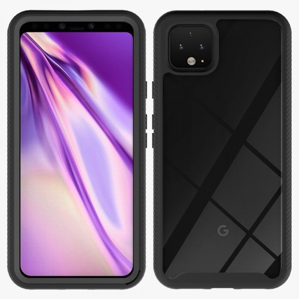 Wholesale Google Pixel 4 Clear Dual Defense Hybrid Case (Black)