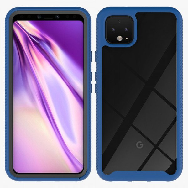 Wholesale Google Pixel 4 Clear Dual Defense Hybrid Case (Navy Blue)