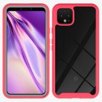 Wholesale Google Pixel 4 XL Clear Dual Defense Hybrid Case (Red)