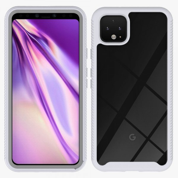 Wholesale Google Pixel 4 XL Clear Dual Defense Hybrid Case (White)