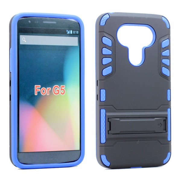 Wholesale LG G5 Hard Shield Hybrid Kickstand Case (Blue)