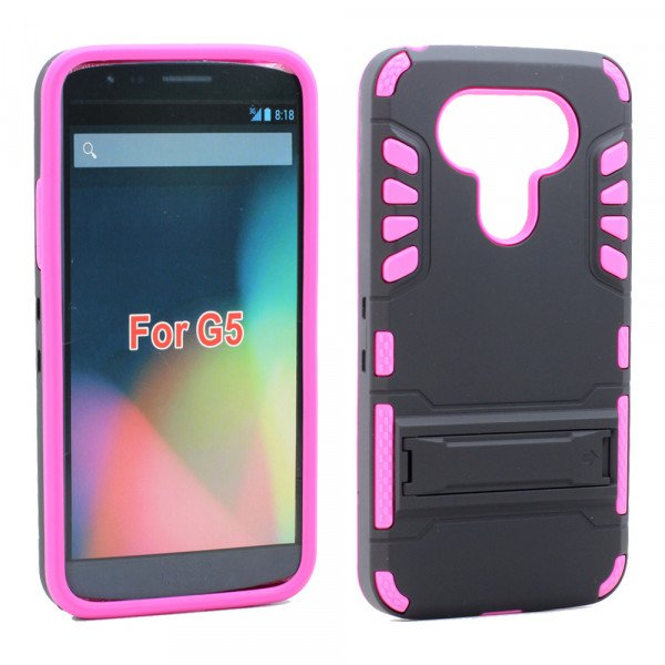 Wholesale LG G5 Hard Shield Hybrid Kickstand Case (Hot Pink)