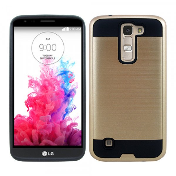 Wholesale LG K10 Premier LTE Iron Shield Hybrid Case (Champagne Gold)