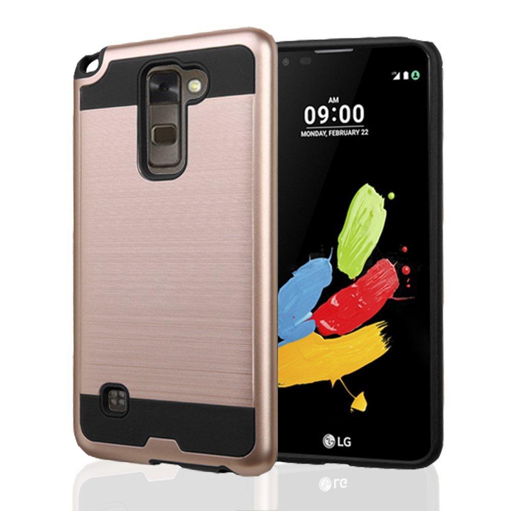 low priced 4ec97 26519 Wholesale LG Stylo 2 Plus MS550 Iron Shield Hybrid Case (Rose Gold)