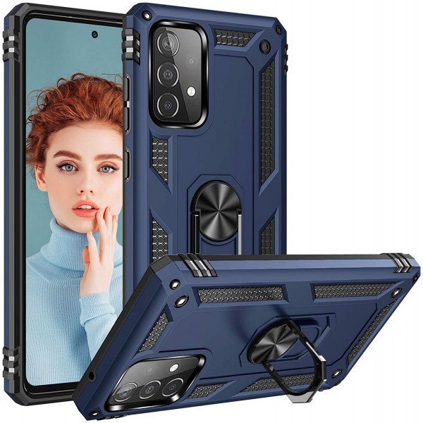 Wholesale Tech Armor Ring Stand Grip Case with Metal Plate for Samsung Galaxy A72 5G (Navy Blue)