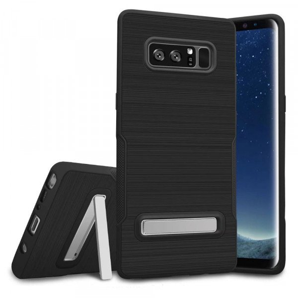 Wholesale Galaxy Note 8 Brushed TPU Hybrid Kickstand Case (Black)