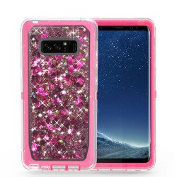 Galaxy Note 8 Star Dust Liquid Clear Armor Defender Case (Pink)