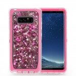 Galaxy Note 8 Star Dust Liquid Clear Armor Defender Case (Hot Pink)