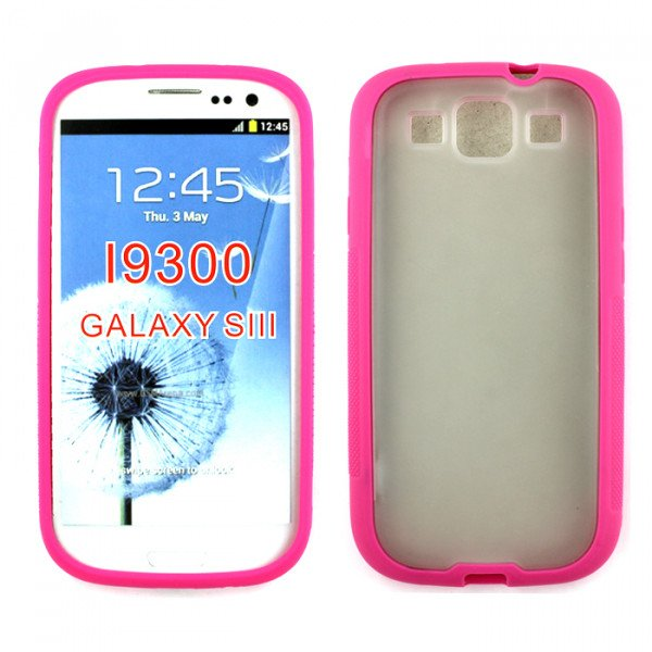 Wholesale Samsung Galaxy S3 Gummy Case (Pink Clear)