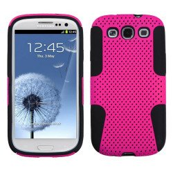 Samsung Galaxy S3 Mesh Hybrid Case (Hot Pink Black)