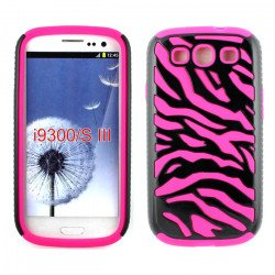 Samsung Galaxy S3 / I9300 Zebra Hybrid Case (Black-Hot Pink)
