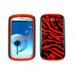 Samsung Galaxy S3 / I9300 Zebra Hybrid Case (Black-Red)
