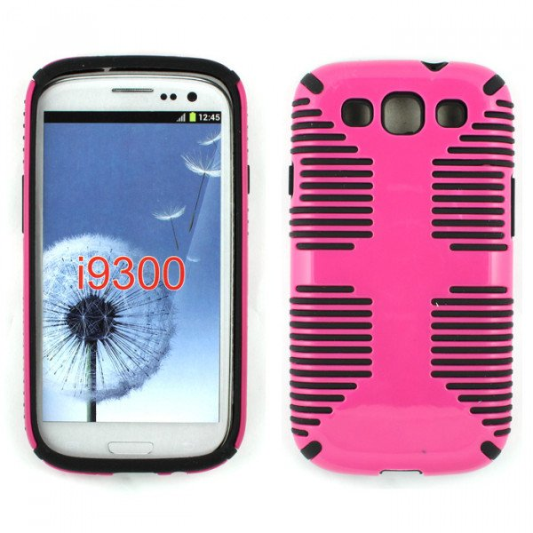 Wholesale Galaxy S3 / I9300 Hybrid Grip Case (Hot Pink-Black)