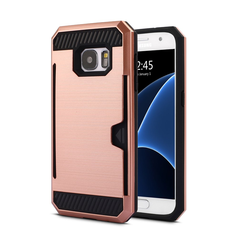 wholesale samsung galaxy s7 edge credit card armor case rose gold. Black Bedroom Furniture Sets. Home Design Ideas