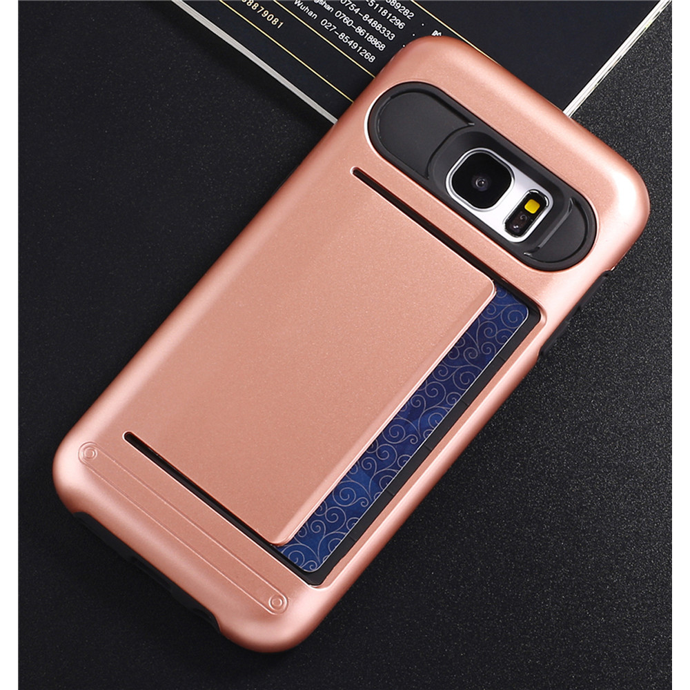 wholesale samsung galaxy s7 edge card slots hybrid case rose gold. Black Bedroom Furniture Sets. Home Design Ideas