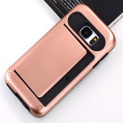 Samsung Galaxy S7 Card Slots Hybrid Case (Rose Gold)