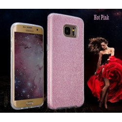 Galaxy S7 Edge Shiny Armor Hybrid Case (Hot Pink)