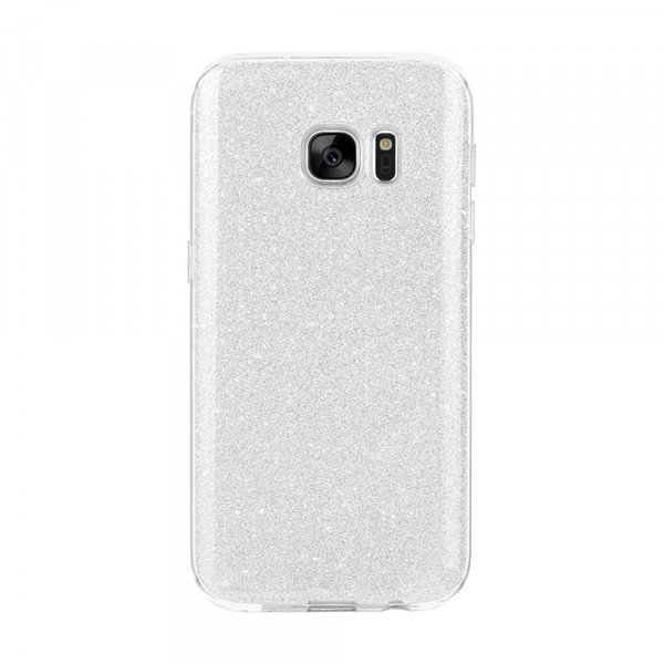 Wholesale Galaxy S7 Edge Shiny Armor Hybrid Case (Silver)