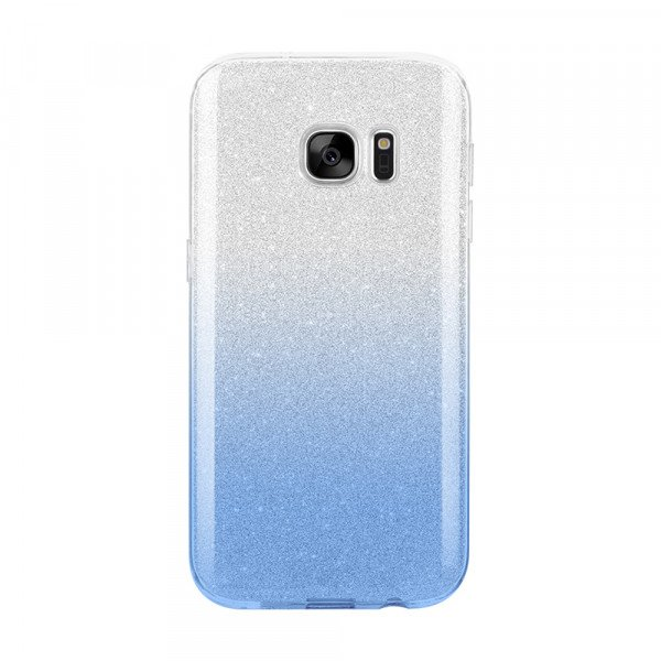Wholesale Galaxy S7 Shiny Armor Hybrid Case (Silver - Blue)