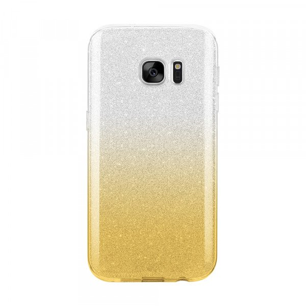 Wholesale Galaxy S7 Shiny Armor Hybrid Case (Silver - Gold)