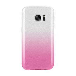 Galaxy S7 Shiny Armor Hybrid Case (Silver - Hot Pink)