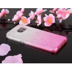 Wholesale Galaxy S7 Edge Shiny Armor Hybrid Case (Silver - Hot Pink)