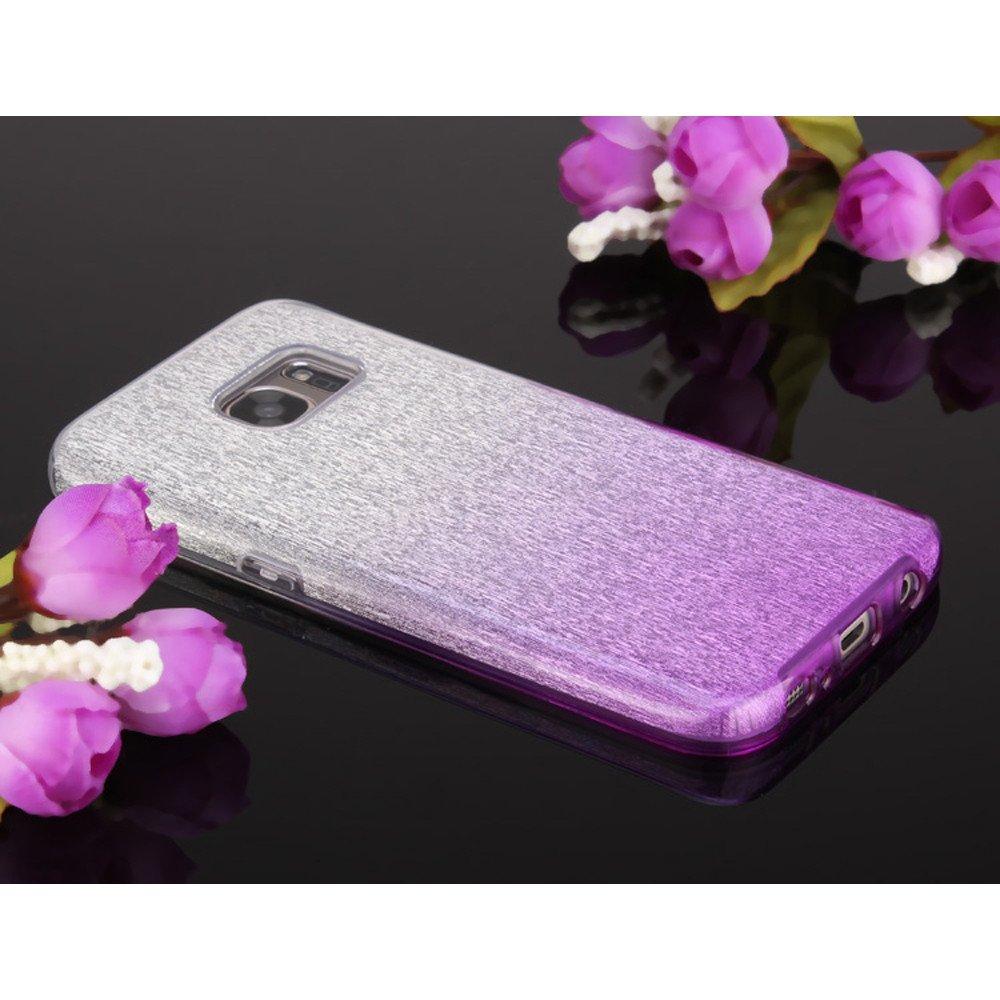 buy online 0c903 b3e46 Wholesale Galaxy S7 Edge Shiny Armor Hybrid Case (Silver - Purple)