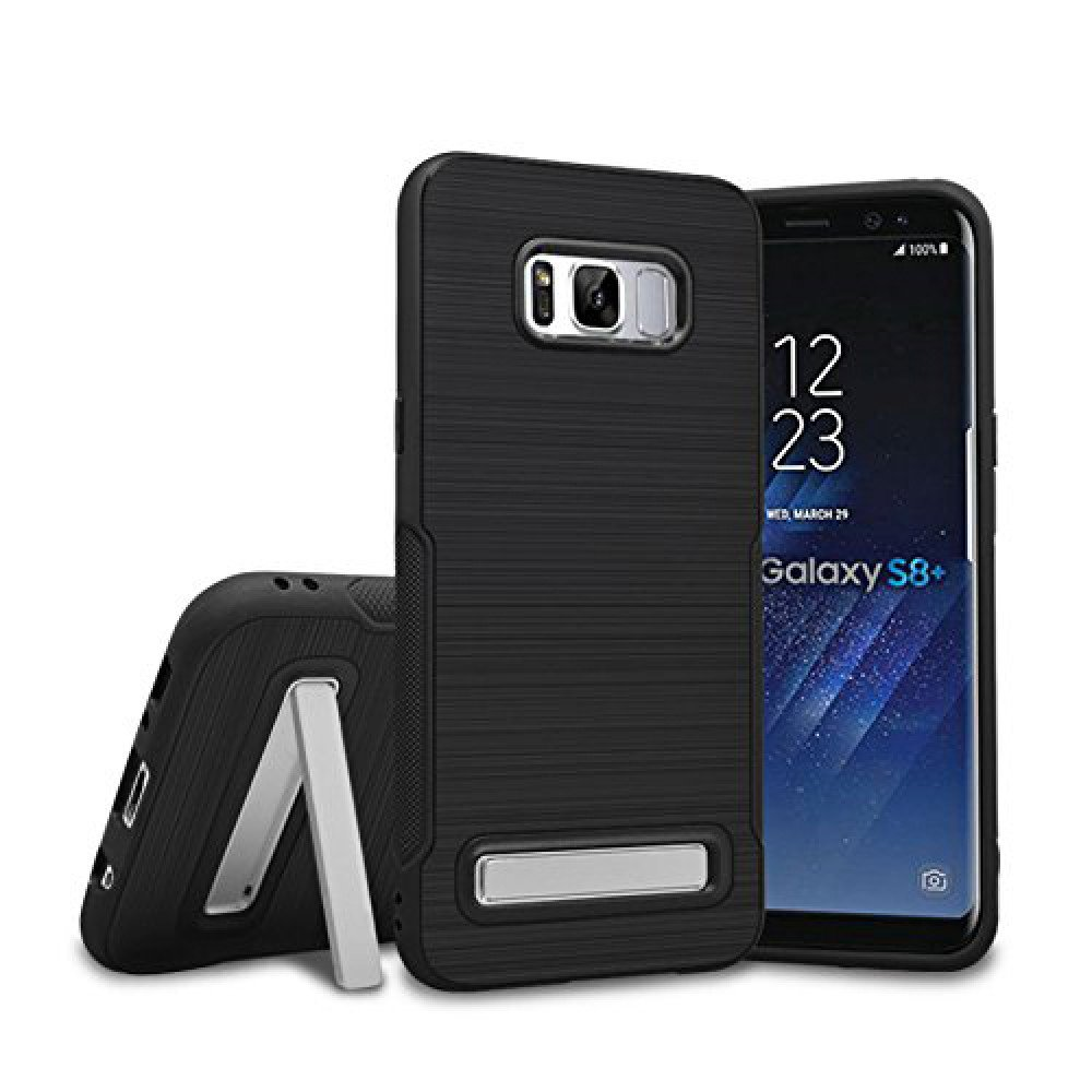 low priced d32e7 4ed15 Wholesale Galaxy S8 Plus Brushed TPU Hybrid Kickstand Case (Black)