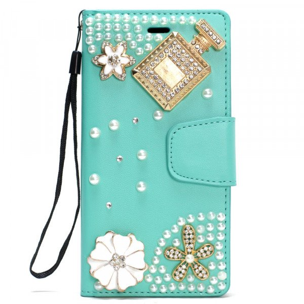 Wholesale Galaxy S8 Crystal Flip Leather Wallet Case with Strap (Perfume Green)