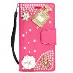 Wholesale Galaxy S8 Crystal Flip Leather Wallet Case with Strap (Perfume Hot Pink)