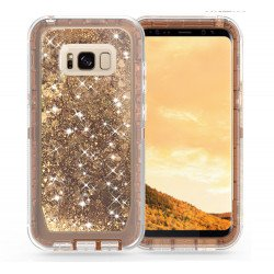 Galaxy S8 Star Dust Liquid Clear Armor Defender Case (Bronze Gold)