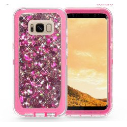 Galaxy S8 Star Dust Liquid Clear Armor Defender Case (Hot Pink)