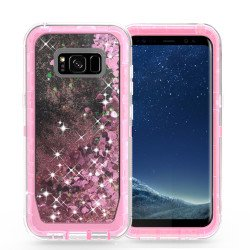 Galaxy S8 Star Dust Liquid Clear Armor Defender Case (Pink)