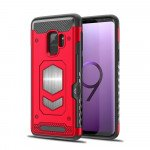 Galaxy S9+ (Plus) Metallic Plate Case Work with Magnetic Holder and Card Slot (Red)