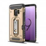 Wholesale Samsung Galaxy S9 Rugged Kickstand Armor Case with Card Slot (Gold)