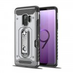 Wholesale Samsung Galaxy S9 Rugged Kickstand Armor Case with Card Slot (Silver)