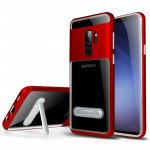 Galaxy S9+ (Plus) Clear Armor Bumper Kickstand Case (Red)