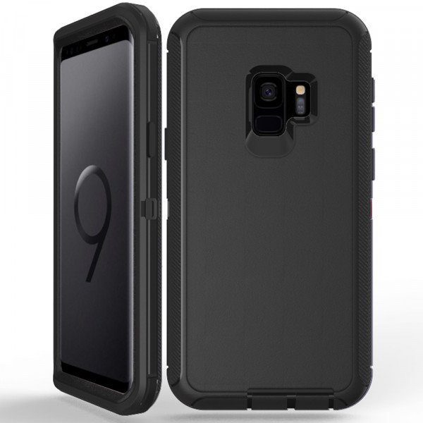 Wholesale Galaxy S9 Armor Defender Case (Black Black)