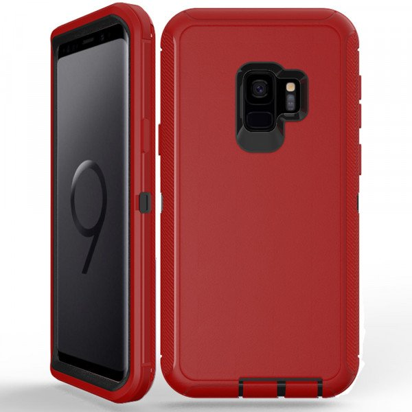 Wholesale Galaxy S9 Armor Defender Case (Red Black)