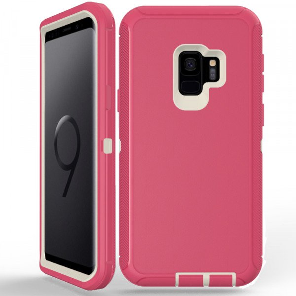 Wholesale Galaxy S9 Armor Defender Case (Hot Pink White)